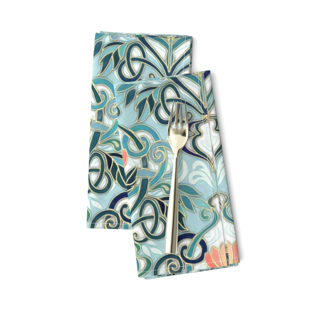 Amarela Dinner Napkins featuring Sage and Blue Art Nouveau Pattern with Peach Flowers large print  by micklyn