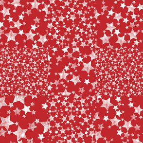 Red + White Magical Stars Cheater Quilt
