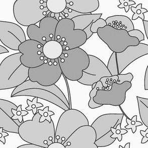 BIG FLORAL 70s Grey Scale