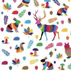 colorful striped woodland animals – small scale