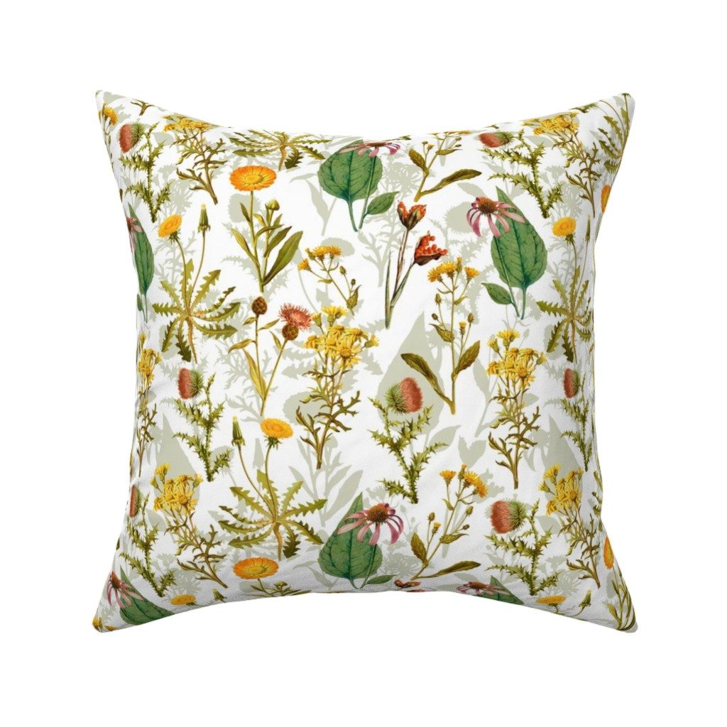 "Catalan Throw Pillow featuring 21"" Antique Vintage Wildflowers  by utart"