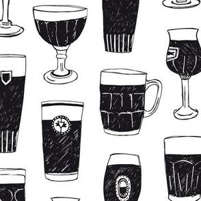 Beer glasses black and white