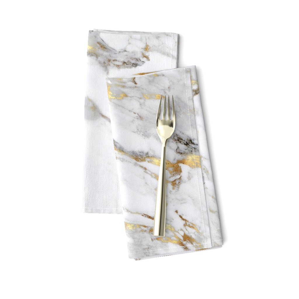 Amarela Dinner Napkins featuring Gilded Marble // Large Scale by willowlanetextiles
