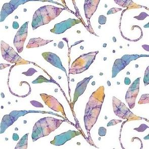batik leaves on white
