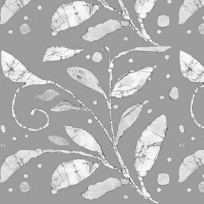 gray and white batik