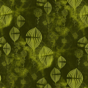 Art Deco whimsical fantasy fine art in Dark Khaki and lime green Large scale texture