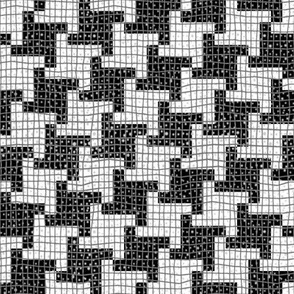 Black and White Diagonal Houndstooth Plaid