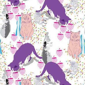 Neon Cats & Feathered Friends