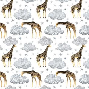 Giraffes clouds stars smaller