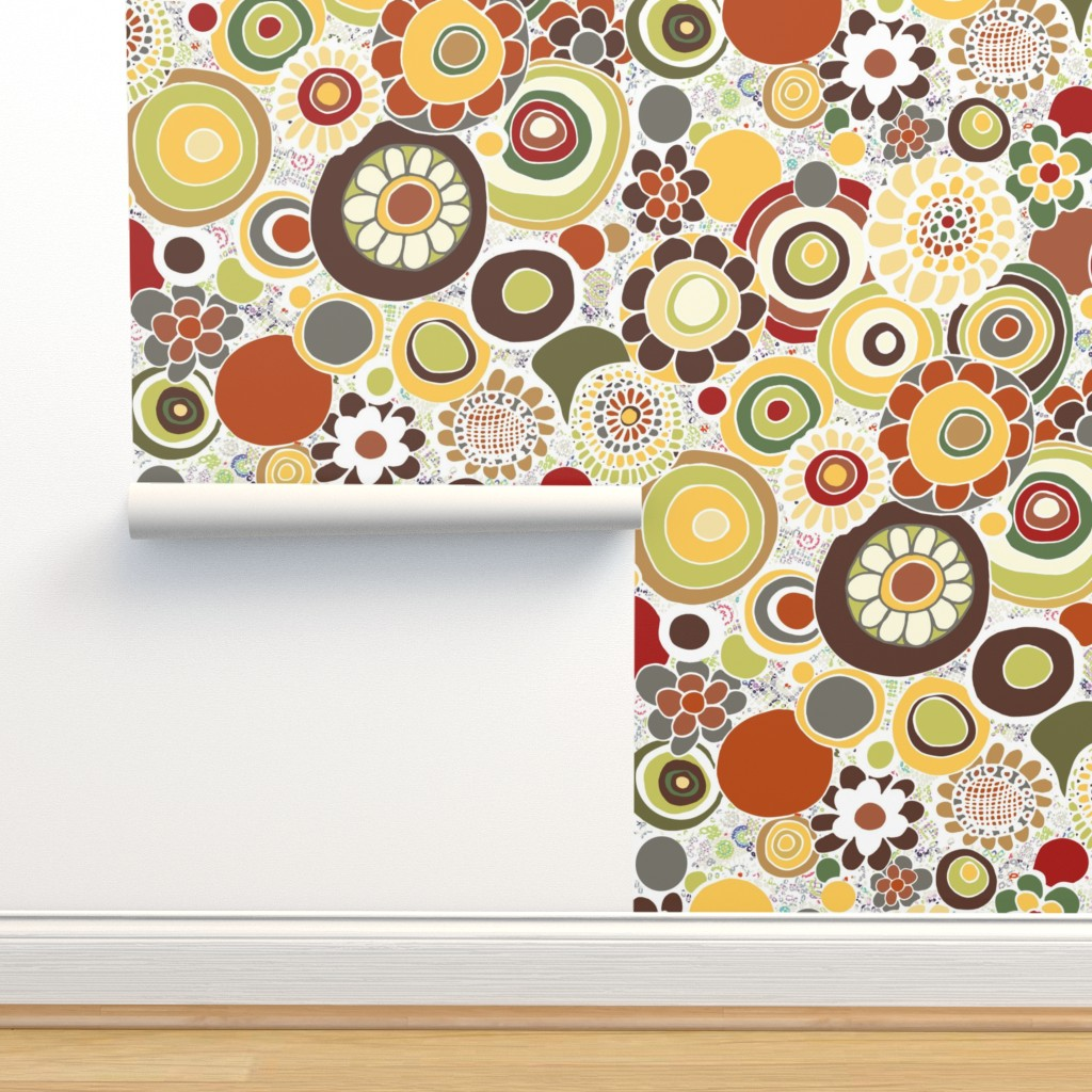 Isobar Durable Wallpaper featuring Earthy Hippie Flowers by jaanahalme
