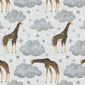 Giraffe and clouds texture