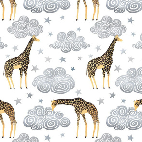 Giraffes clouds and stars