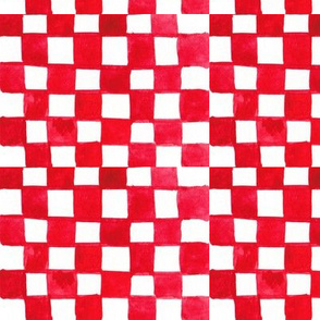 Imperfect Checkered Squares in Red