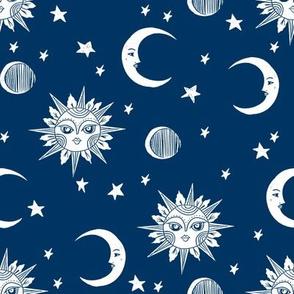 sun moon stars fabric - linocut fabric, mystic tarot fabric, moon phase, witch, ouija, mystical, magic, magical fabric - navy