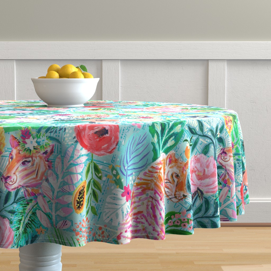Malay Round Tablecloth featuring WIldwood Xlarge by jeanetta_gonzales