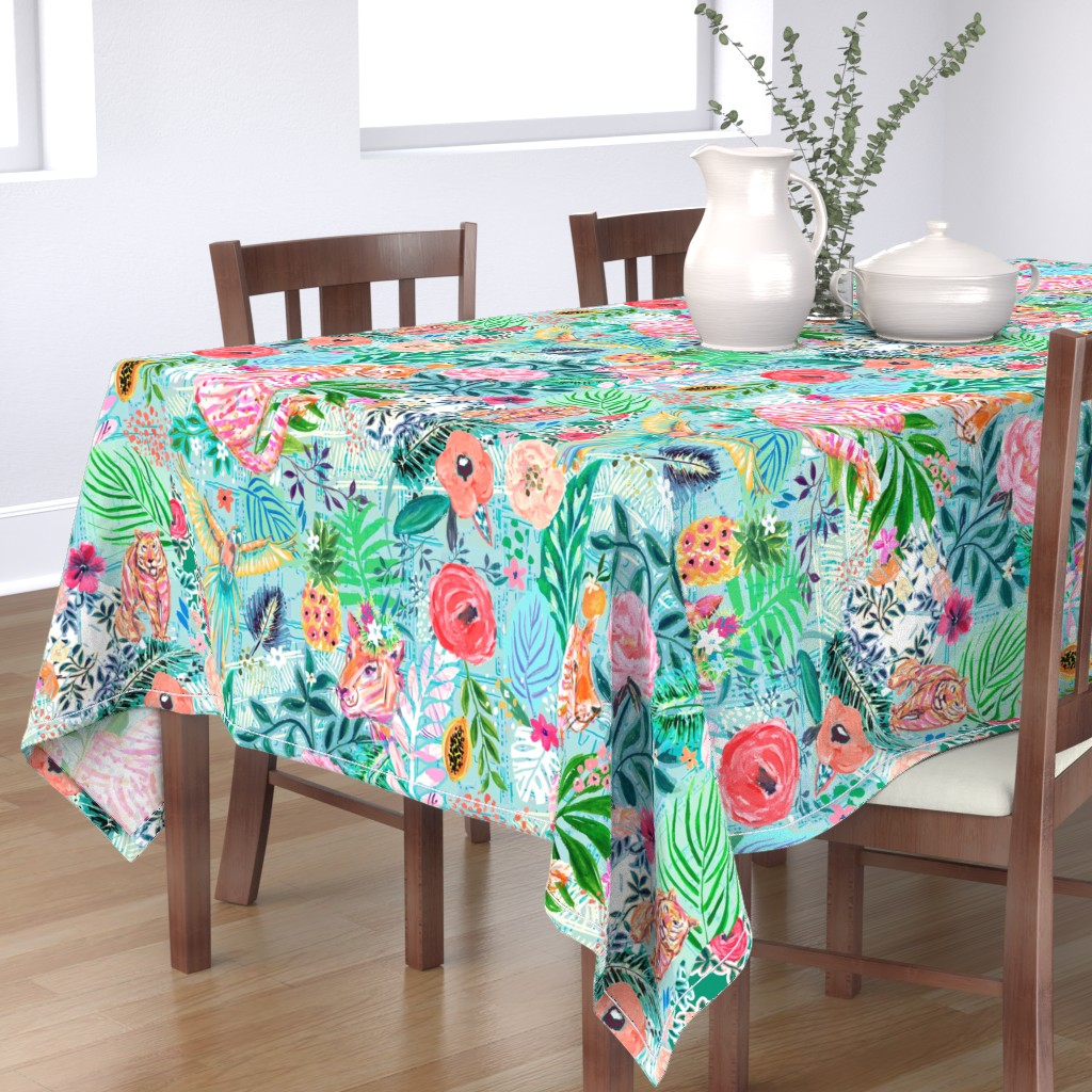 Bantam Rectangular Tablecloth featuring WIldwood Xlarge by jeanetta_gonzales