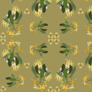 2941-Cockatoo-1-and-Frangipani-Green-Ochre