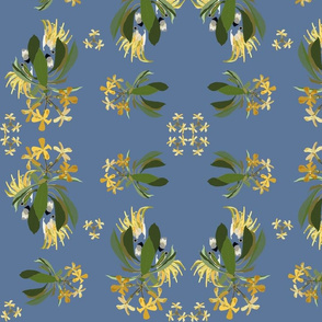 2941-Cockatoo-1-and-Frangipani-Grey-Blue
