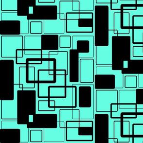 Mint jade Green and noir Geometric