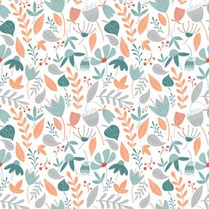 orange flowers spoonflower