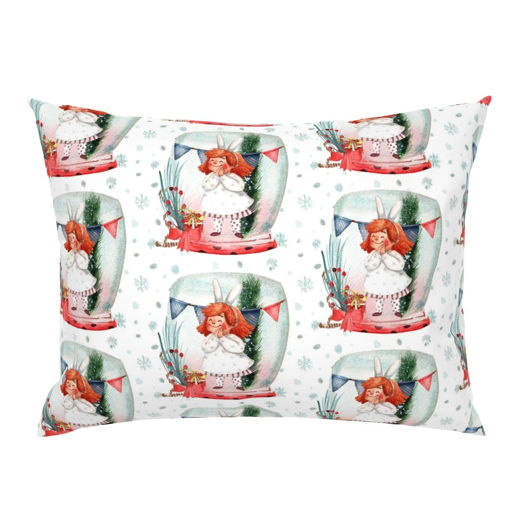 Campine Pillow Sham featuring Joy in a Snowglobe by floramoon