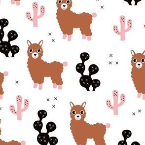 Soft pastel llama alpaca love cactus autumn fall design copper black pink