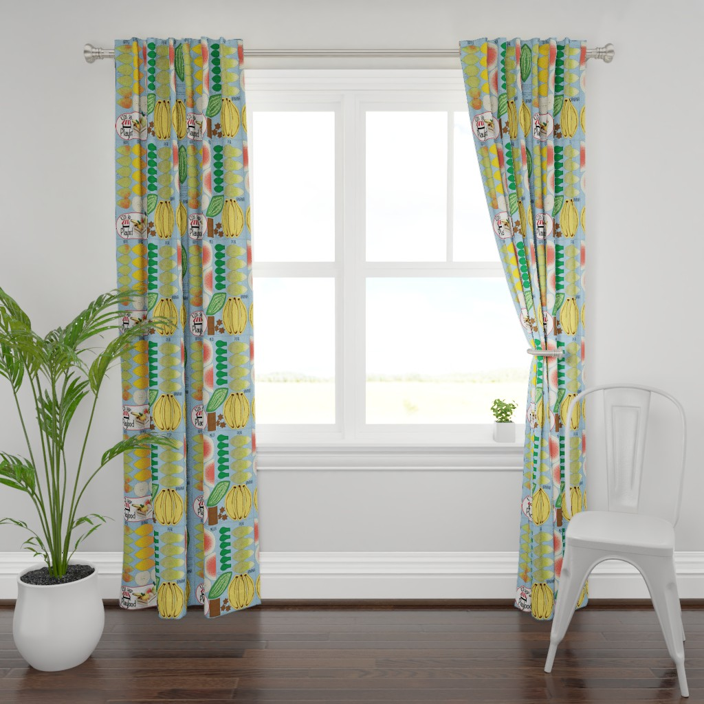 Plymouth Curtain Panel featuring Cut N Sew Playfood: Vol. Fruits by heyjunge