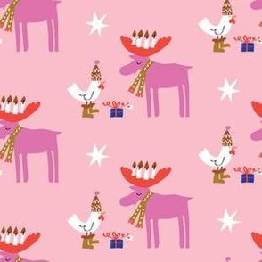 Moose and Chicken  Winter Holiday_pink_©Solvejg Makaretz