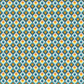 Navajo diamonds small scale blue, yellow Fabric