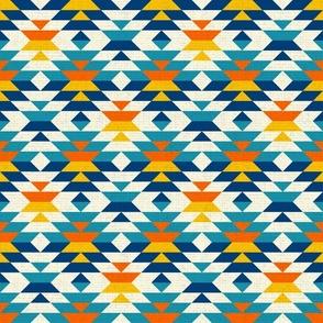Aztec textured colorful navajo diamonds kilim blue Fabric