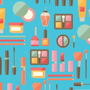 Cosmetics and Makeup on Blue