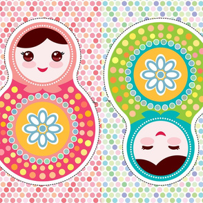 Russian dolls matryoshka The Cut & Sew Fat Quarter Project