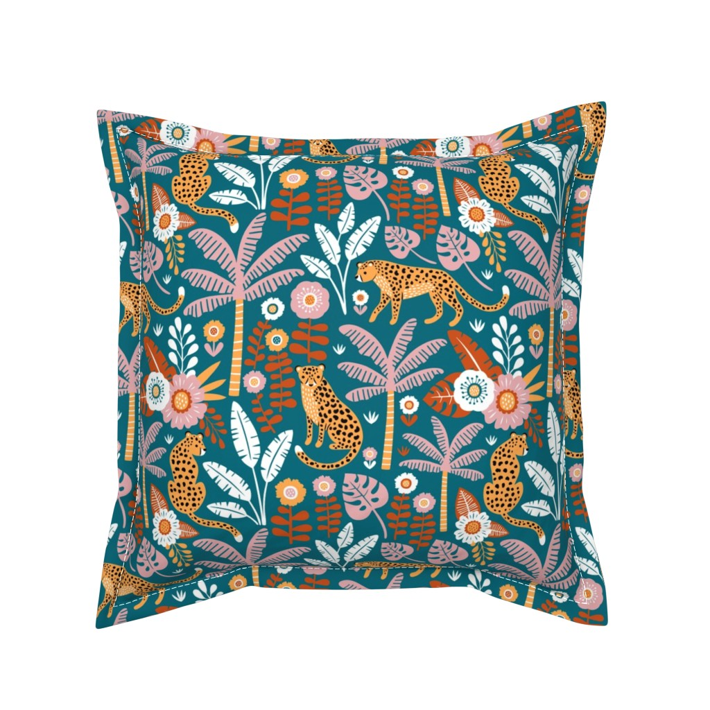 Serama Throw Pillow featuring jungle leopard  by mirabelle_print