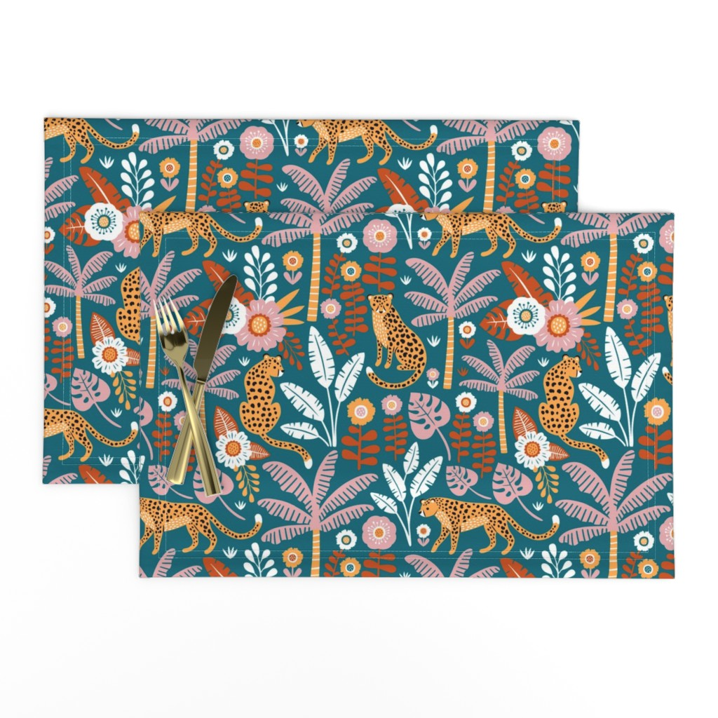 Lamona Cloth Placemats featuring jungle leopard  by mirabelleprint