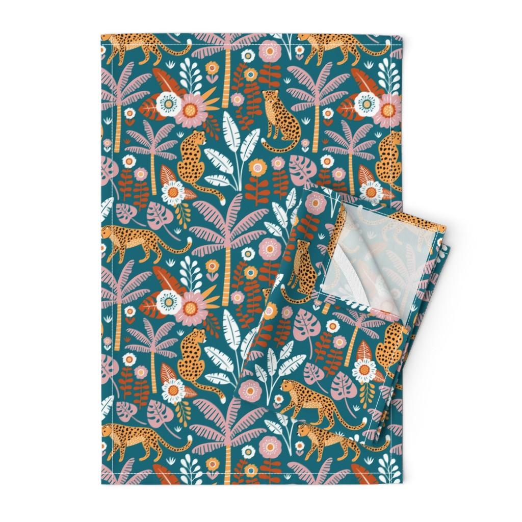 Orpington Tea Towels featuring jungle leopard  by mirabelleprint