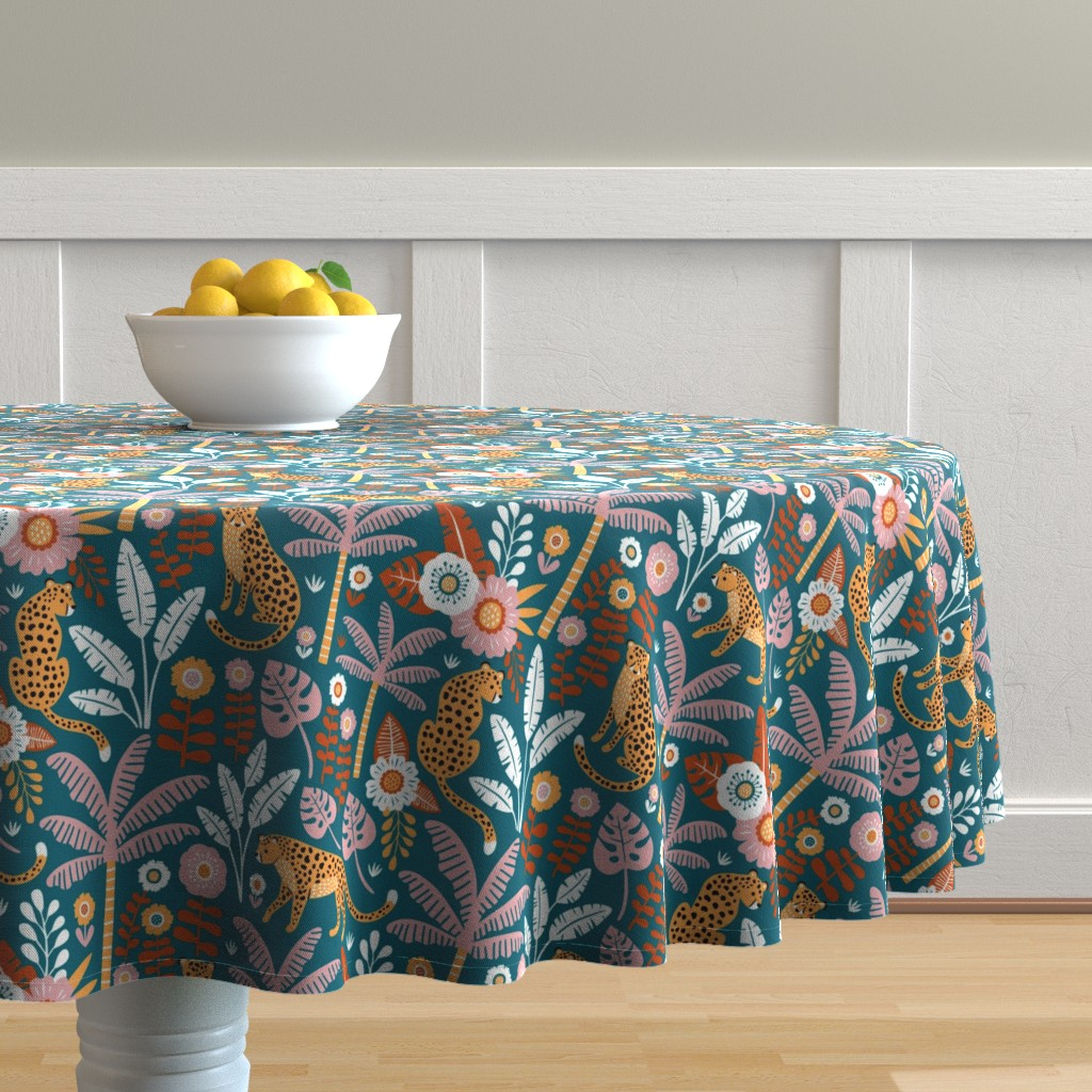 Malay Round Tablecloth featuring jungle leopard  by mirabelleprint