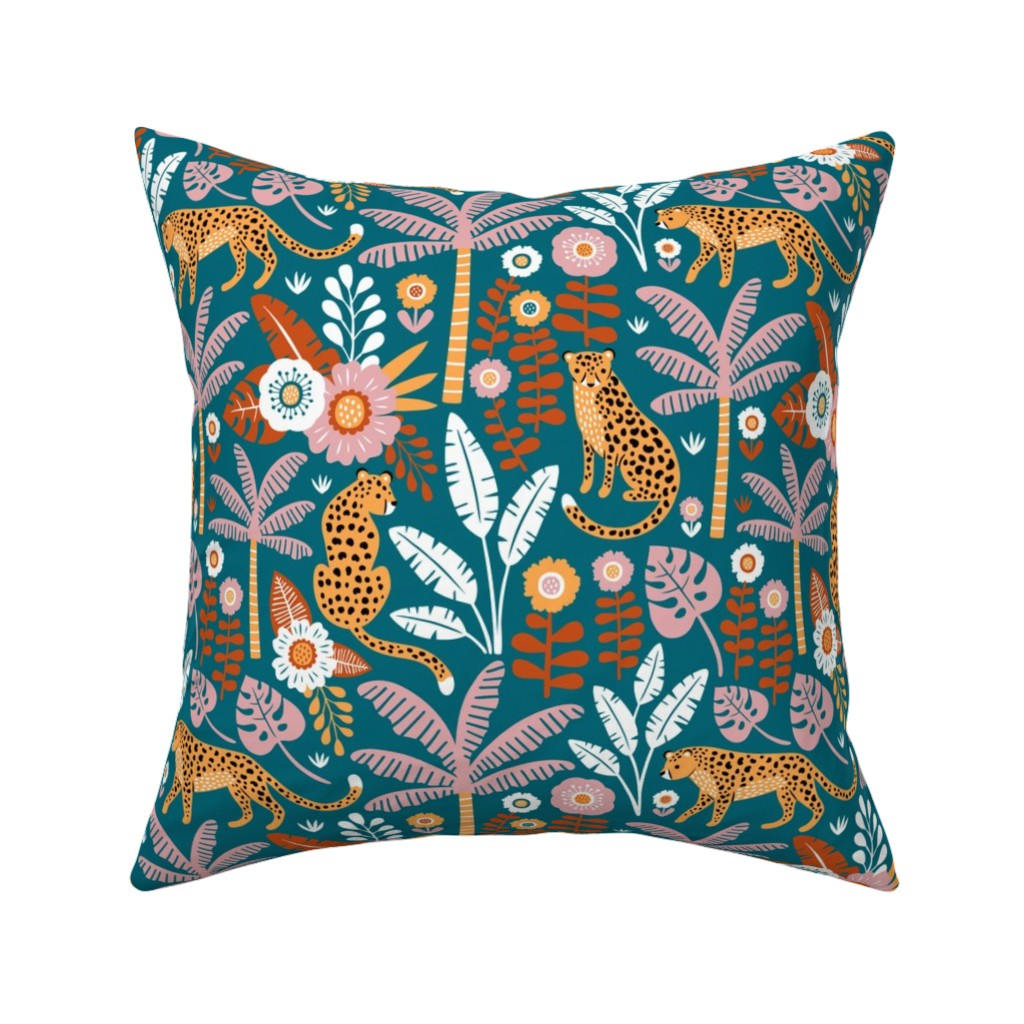 Catalan Throw Pillow featuring jungle leopard  by mirabelleprint