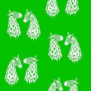 Celtic Llamas 2 white and green