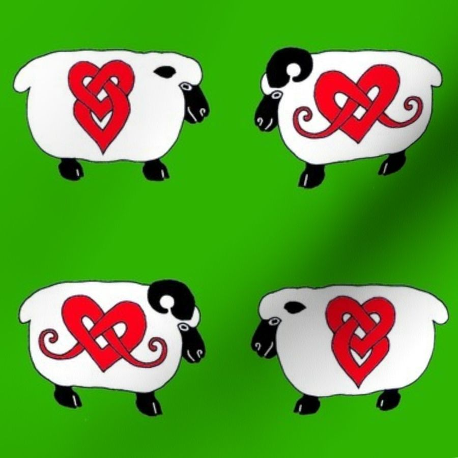 Fabric by the Yard Celtic Ram and Ewe 1 green