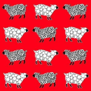 Cottonball Celtic Sheep Red