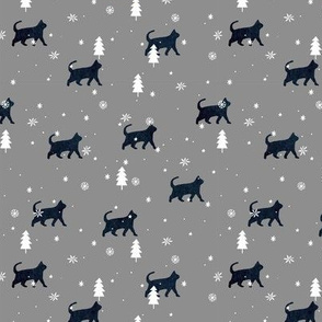 cats in the winter forest -gray