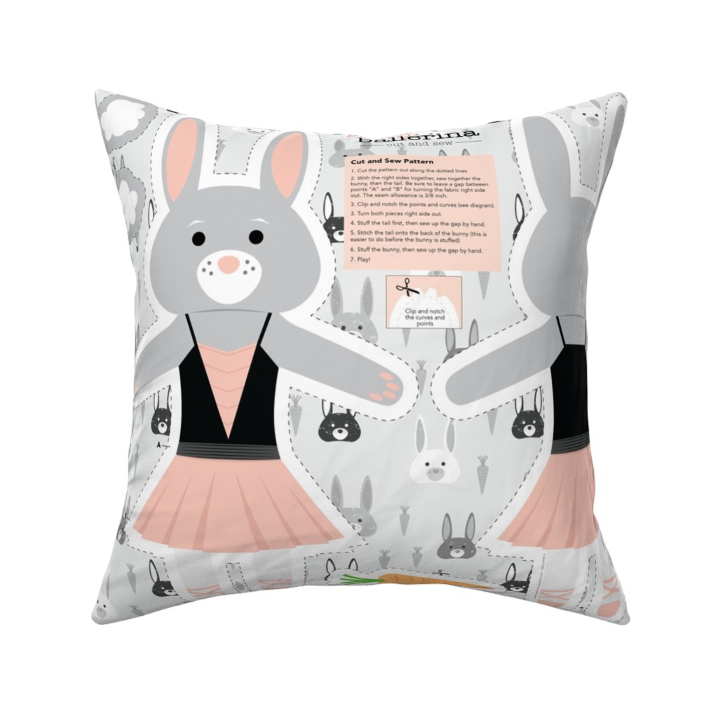 Catalan Throw Pillow featuring Bunny Ballerina Cut and Sew Plushy Project by denisecolgan