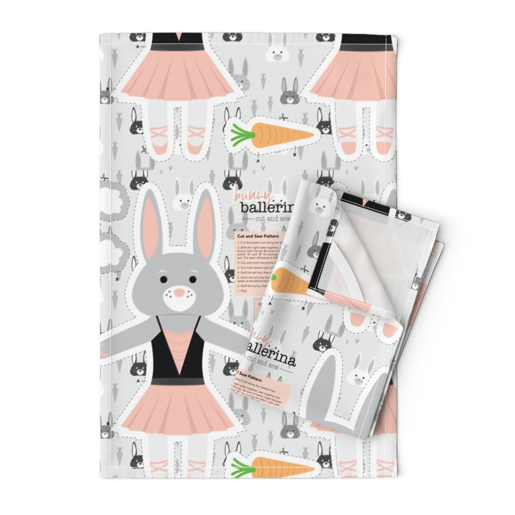 Orpington Tea Towels featuring Bunny Ballerina Cut and Sew Plushy Project by denisecolgan