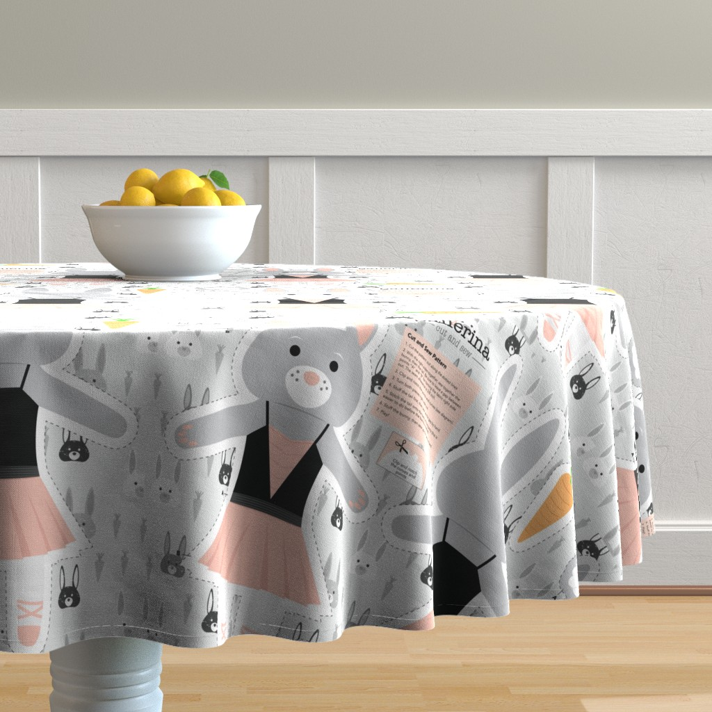 Malay Round Tablecloth featuring Bunny Ballerina Cut and Sew Plushy Project by denisecolgan