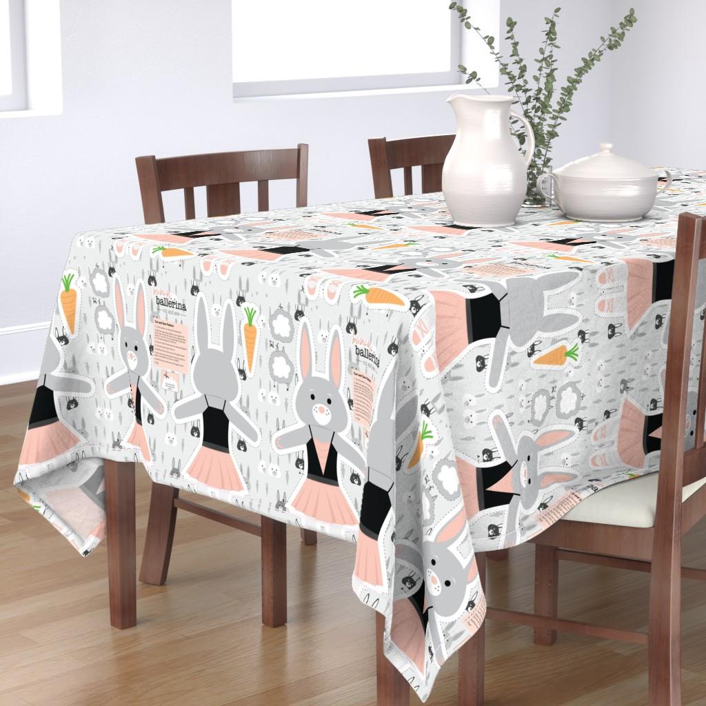 Bantam Rectangular Tablecloth featuring Bunny Ballerina Cut and Sew Plushy Project by denisecolgan