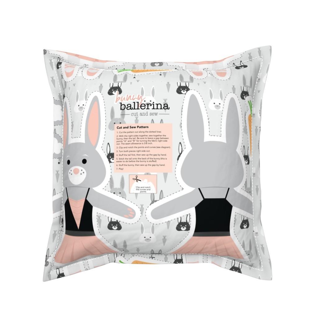 Serama Throw Pillow featuring Bunny Ballerina Cut and Sew Plushy Project by denisecolgan