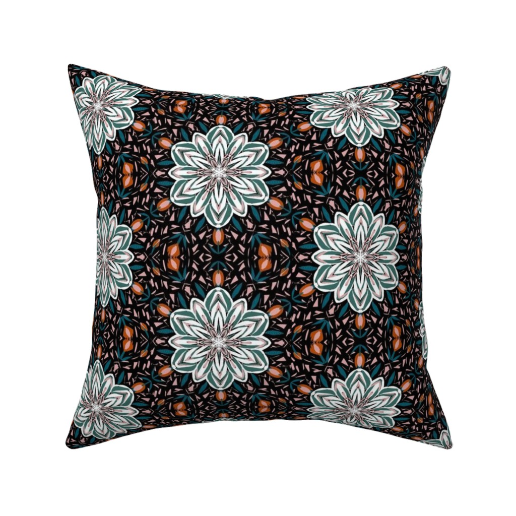 Catalan Throw Pillow featuring A Frosty Autumn Garden Lattice on Black by rhondadesigns