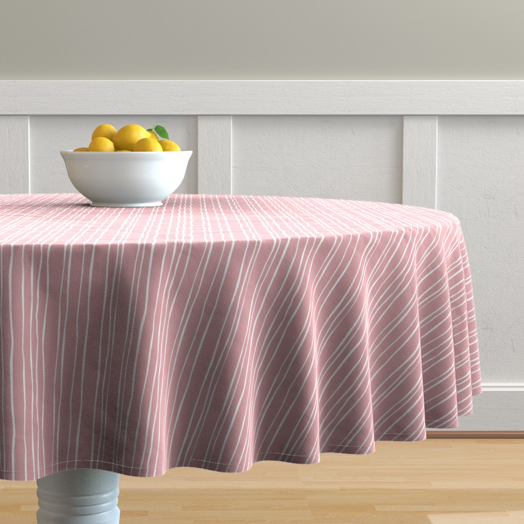 Malay Round Tablecloth featuring Wide Blush Stripe by autumn_musick