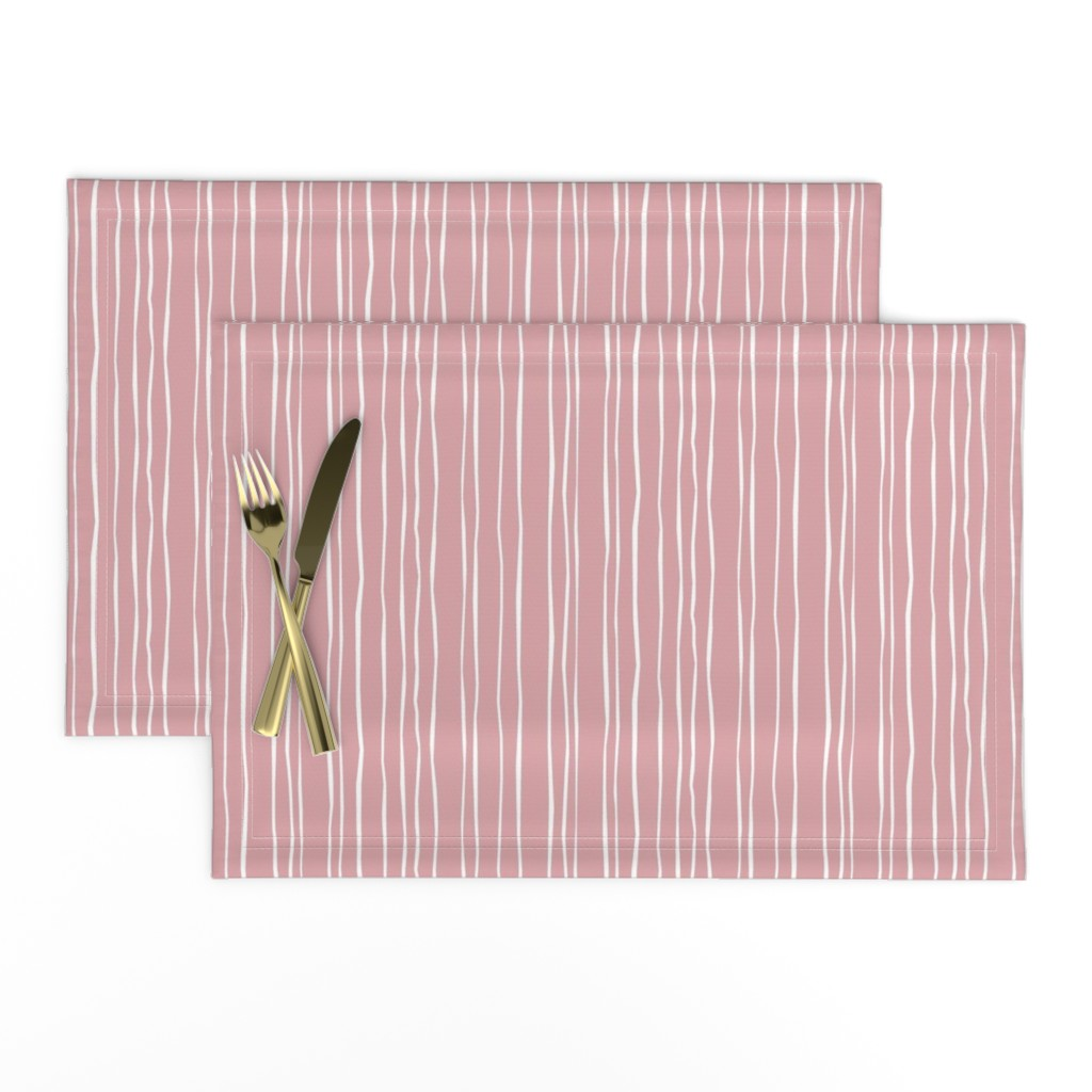 Lamona Cloth Placemats featuring Wide Blush Stripe by autumn_musick