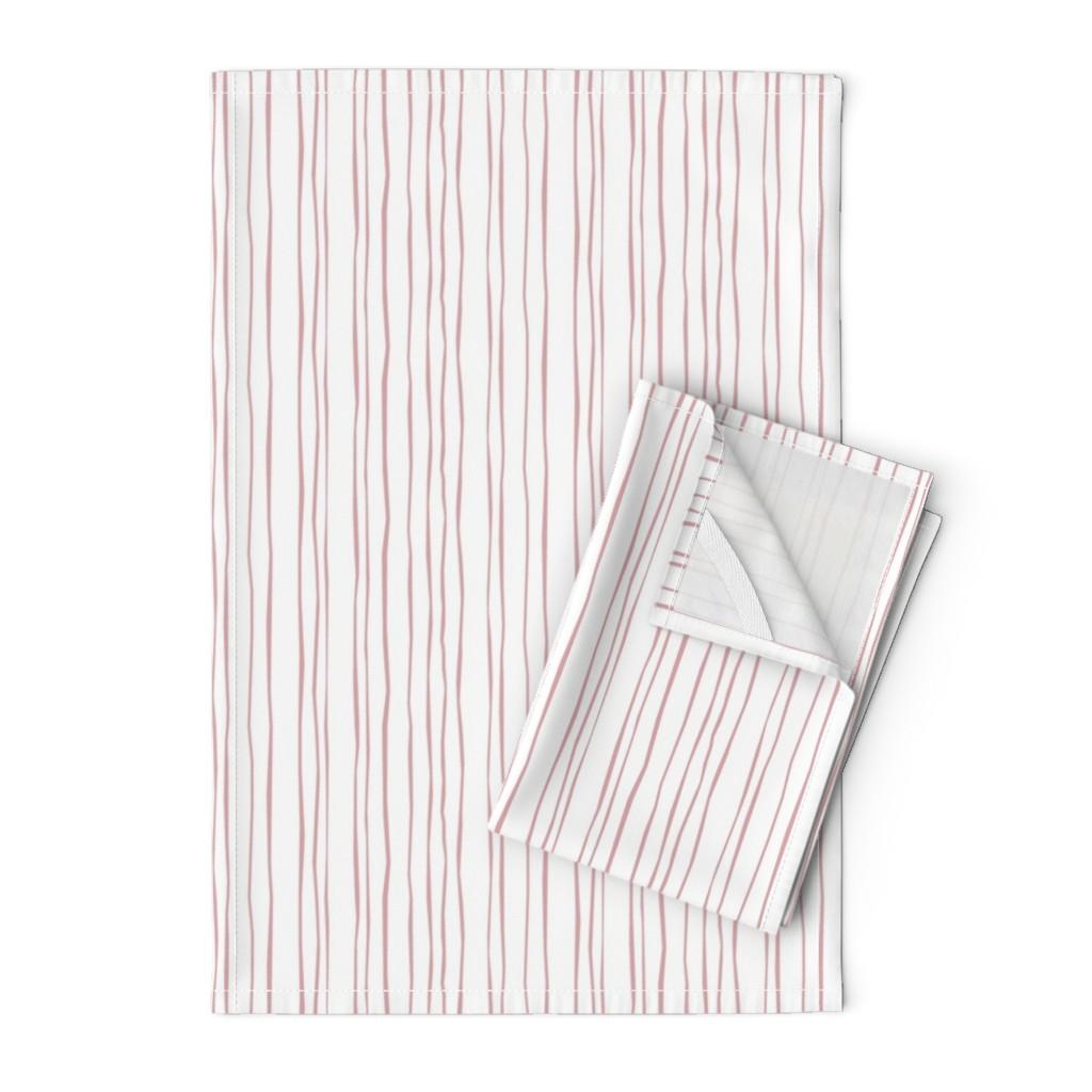 Orpington Tea Towels featuring Narrow Blush Stripe by autumn_musick